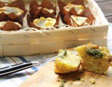 Bramborové muffiny s bylinkovým pestem